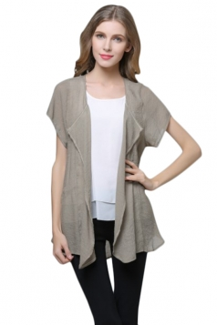 Womens Irregular Short Sleeve Casual Cardigan Pure Khaki