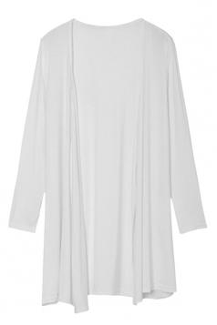 Womens Slimming Long Sleeve Cardigan White