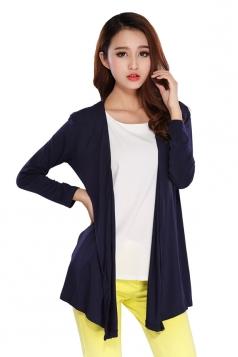 Womens Slimming Long Sleeve Cardigan Navy Blue
