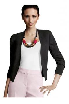 Womens Elegant Short Sleeve Pleated Blazer Black