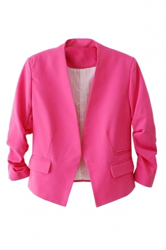 Womens Elegant Short Sleeve Pleated Blazer Rose Red