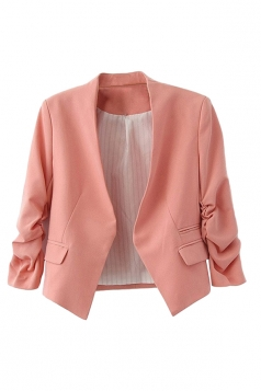 Womens Elegant Short Sleeve Pleated Blazer Pink