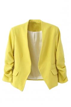 Womens Elegant Short Sleeve Pleated Blazer Yellow