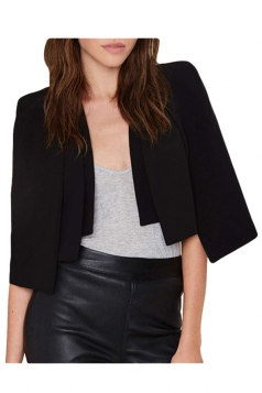 Womens 3/4 Sleeve Length Short Cape Blazer Black