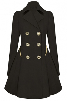 Womens Double-breasted Pleated Slimming Trench Coat Black