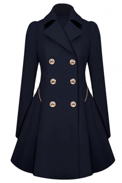 Womens Double-breasted Pleated Slimming Trench Coat Navy Blue