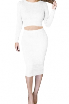 Womens Long Sleeve Chic Crochet Skirt Suit White
