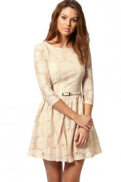 Ladies Embroidered Sunflower 3/4 Length Sleeve Dress Beige White