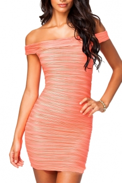 Womens Sexy Off Shoulder Bandage Dress Pink