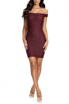 Womens Sexy Off Shoulder Bandage Dress Ruby