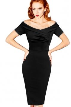 Black Sexy Slim Ladies Off-shoulder Pencil Midi Dress