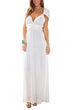 White Plain Sexy Pretty Womens Maxi Dress