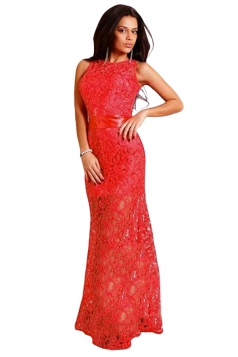 Ladies Hollow Out Sleeveless Sheer Sexy Maxi Dress Red