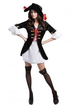 Womens Cool Mini Robe Corsaire Halloween Pirate Costume Black