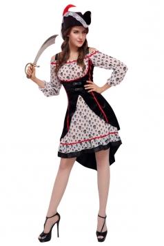 Womens Skull Printed Off Shoulder Pirate Halloween Costume Black