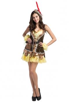 Girls Greenwood Robin Hood's Cosplay Halloween Folk Costume Yellow