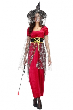 Womens Cloak Long Gauze Sleeve Witch Adult  Costume Red