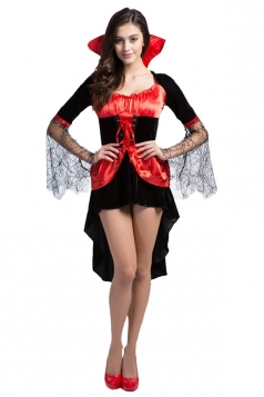 Girls Cosplay Gauze Sleeve Halloween Vampire Costume Red