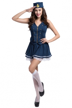 Girls Newest Retro Halloween Sailor Costume Blue