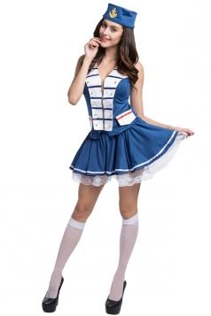 Girls Hot Selling Sexy Rivet Halloween Sailor Costume Blue