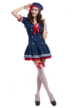 Girls Popular Sexy Button Decorated Halloween Sailor Costume Blue