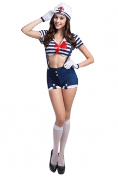 Girls Sexy Suspender Bowknot Decorated Halloween Sailor Costume Blue