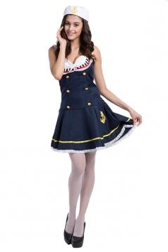 Girls Sexy Navy Halloween Dress Sailor Costume Blue