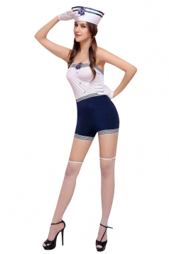 Girls Cute Bright Halter Sleeveless Halloween Sailor Costume White