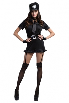 Womens Cool Authentic Cop Halloween Costume Black