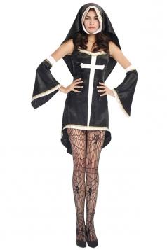 Womens Sexy Sleeveless Nun Halloween Costume Black