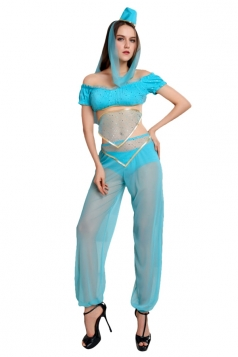 Womens Off Shoulder Sheer Sexy Indian Dancing Costume Blue