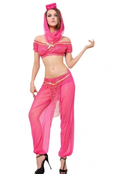 Womens Off Shoulder Sheer Sexy Indian Dancing Costume Rose Red