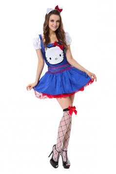Womens Hello Kitty Halloween Costume Cute Blue