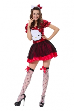 Womens Hello Kitty Halloween Costume Cute Red