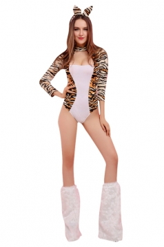 Womens Long Sleeve Sexy Halloween Tiger Costume White