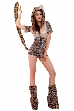 Womens Front Zipper Halloween Leopard Costume Gray