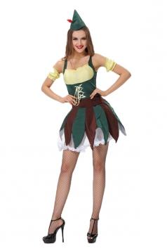 Womens Lace Up Robin Hood Halloween Costume Green