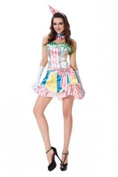 Womens Off Shoulder Bow Halloween Circus Costume Pink
