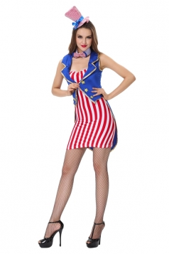 Womens Stars and Stripes Halloween Circus Costume Red