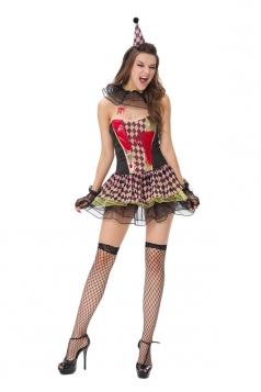Womens Off Shoulder Argyle Halloween Circus Costume Black