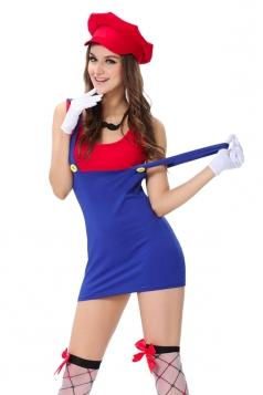 Womens Super Mario Cartoon Halloween Costume Red