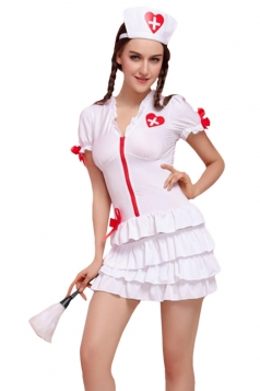 Womens Zipper Bow Halloween Nurse Costume White