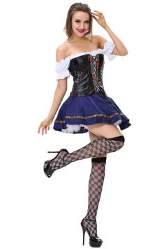 Womens Off Shoulder Halloween Queen Costume Blue