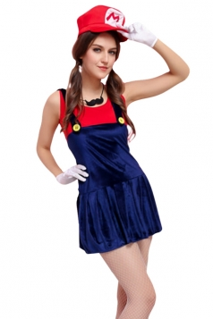Womens Cartoon Halloween Costume Super Mario Red