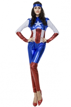 Womens Cool Long Sleeve Halloween Captain America Costume Blue