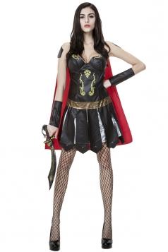 Womens Ancient Greek Warrior Halloween Costume Black