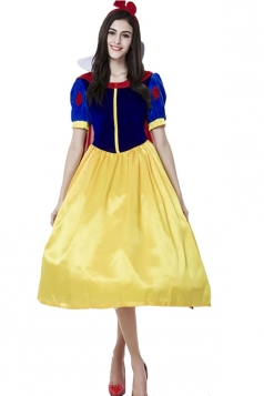 Womens Snow White Short Sleeve Halloween Costume Blue