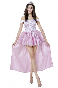 Womens Off Shoulder Sweet Snow White Halloween Costume Pink