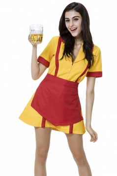 Womens V Neck Halloween Maid Costume Yellow