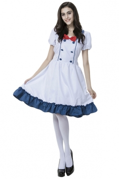 Womens Bow Ruffle Halloween Maid Costume White